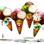 Cono Gelato-Ice Cream-Glace-Cartoon